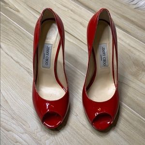 "Jimmy Choo Red Patent Leather ""Quiet"" Pumps"